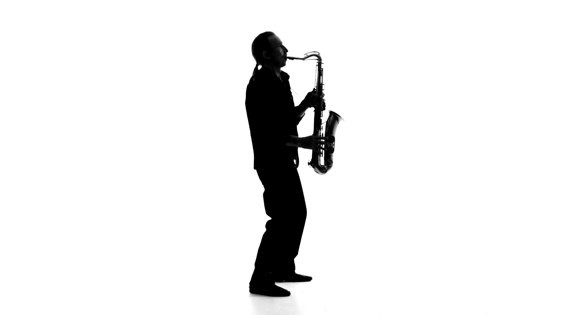 1920x1080 Silhouette Of A Musician Who Plays The Saxophone On A White