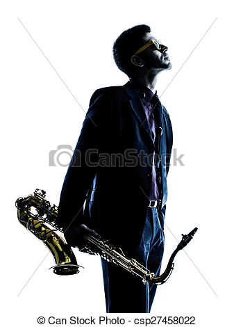 337x470 Man Saxophonist Playing Saxophone Player Silhouette. One Stock