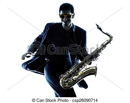 450x357 Man Saxophonist Playing Saxophone Silhouette. One Caucasian