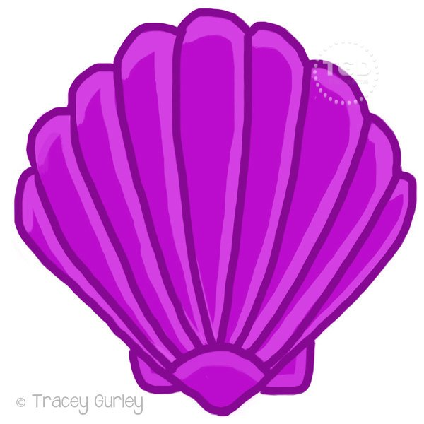 600x600 Purple Scallop Shell Original Art Download 2 Files Scallop