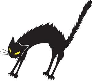 300x265 Scared Black Cat Clipart