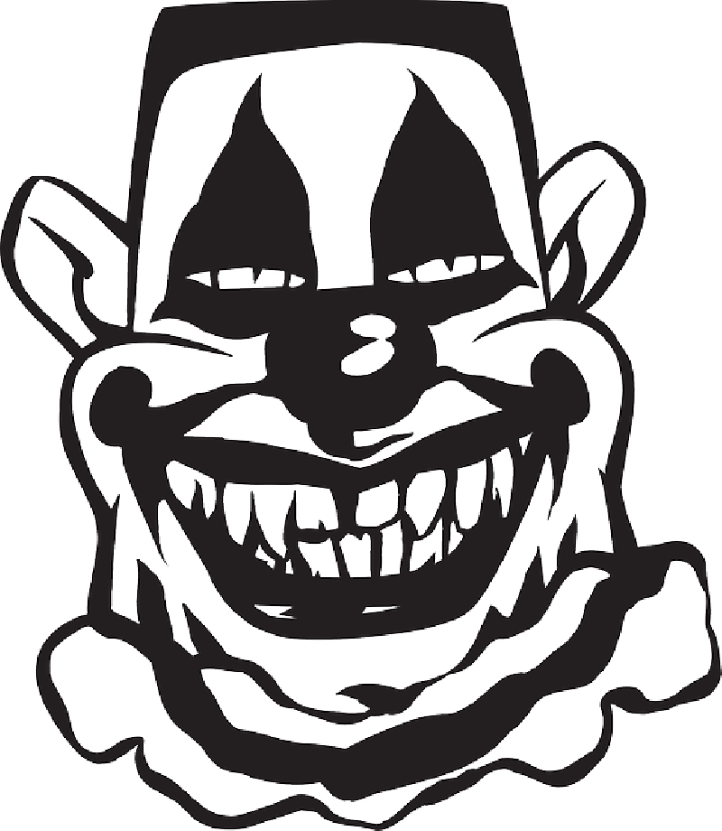 800x920 Scary Clown Clipart Black And White