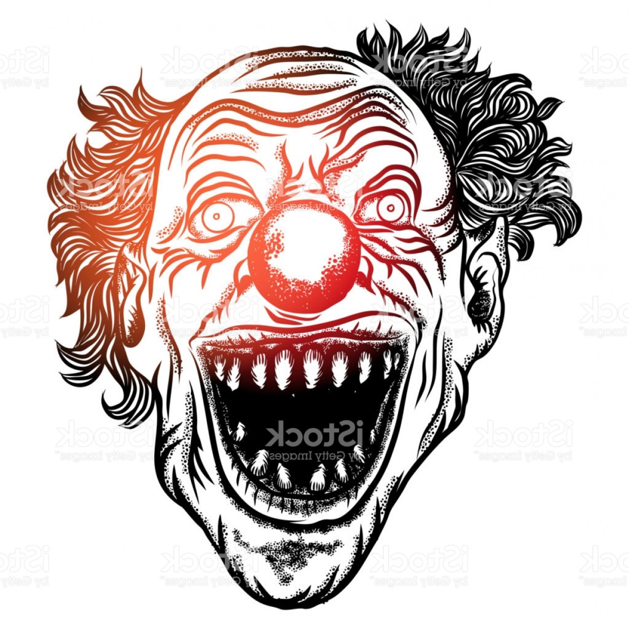 1228x1228 Scary Clown Head Concept Of Circus Horror Film Character Laughing
