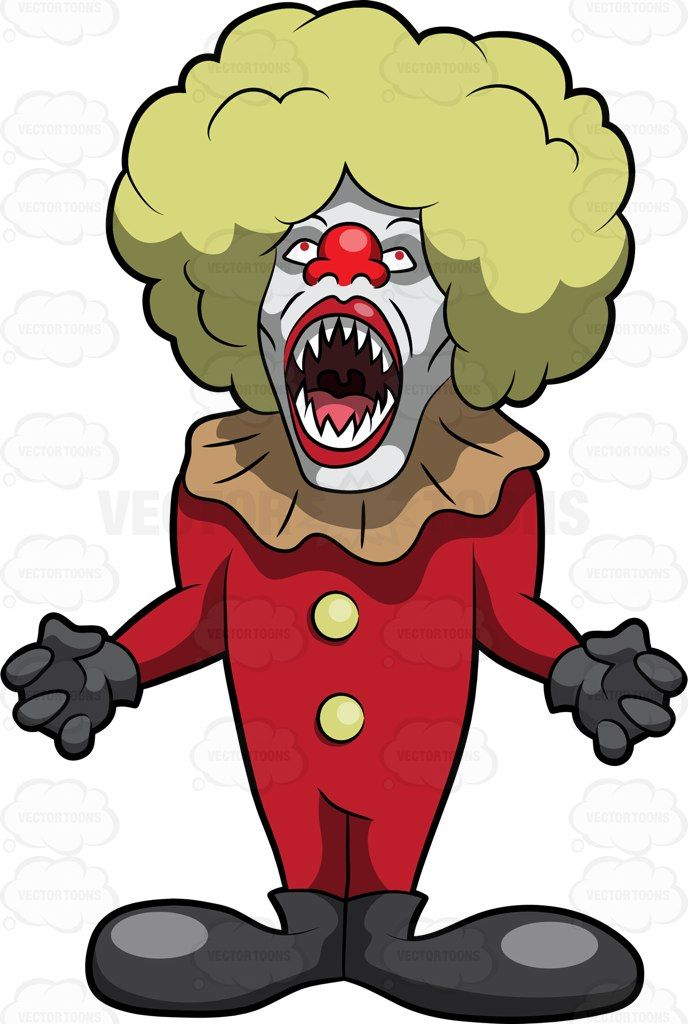 688x1024 A Scary Clown With Fangs Scary Clowns