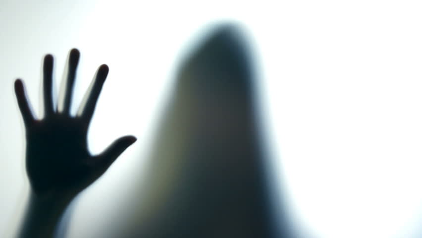 852x480 Hysterical Crazy Woman Pounding On Glass, Spooky Silhouette