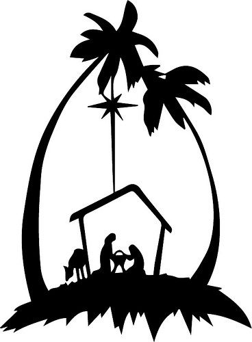 368x500 Nativity Silhouettes Including Camel, Angel, Three Magi Bringing