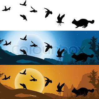 318x320 Sunset over ocean with birds flying to the sun vector illustration