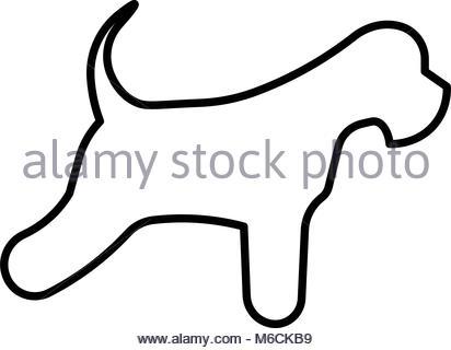 412x320 Miniature Schnauzer Silhouette Outline On White Background Stock