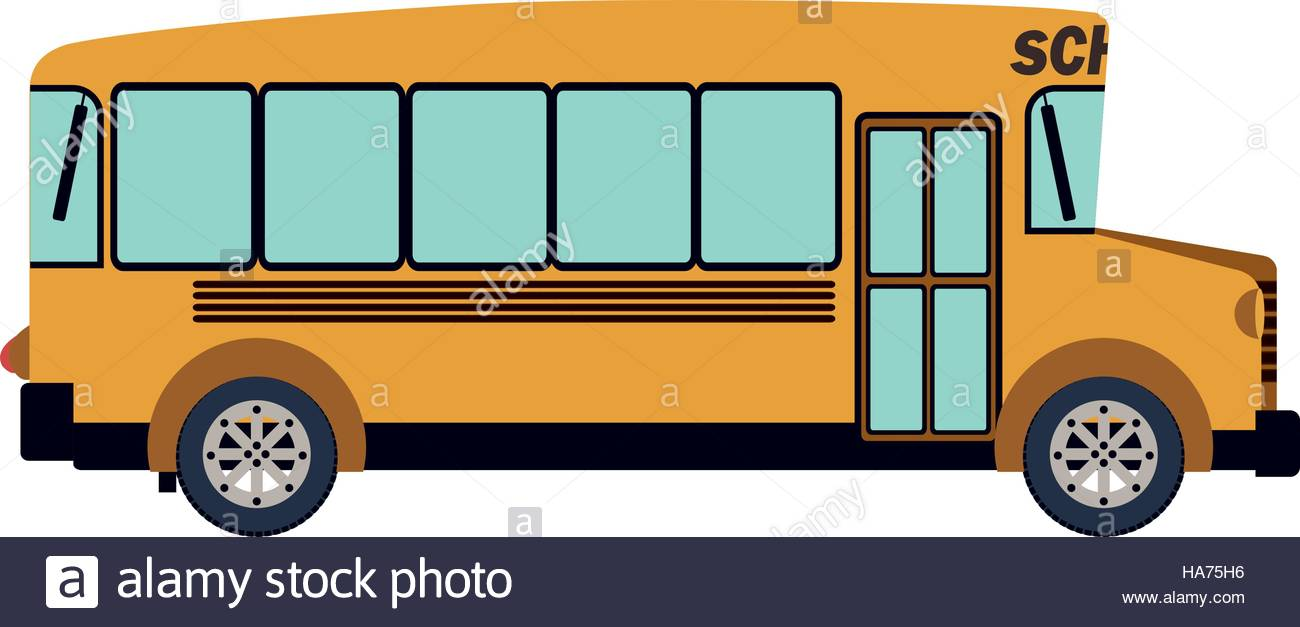 1300x627 Colorful Silhouette With School Bus Vector Illustration Stock
