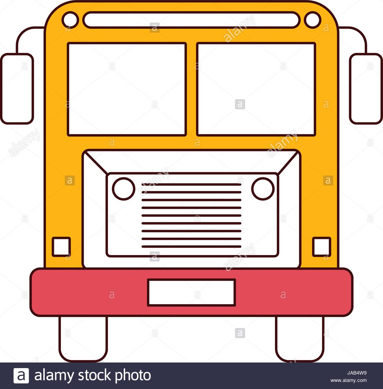 1300x1321 Silhouette Color Sections Of Front View School Bus With Wheels