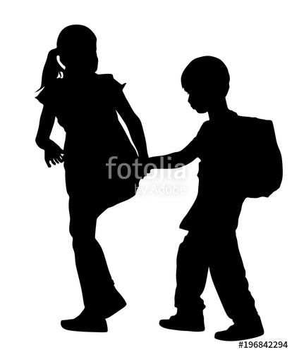414x500 Kids Going To School Together, Vector Silhouette Illustration