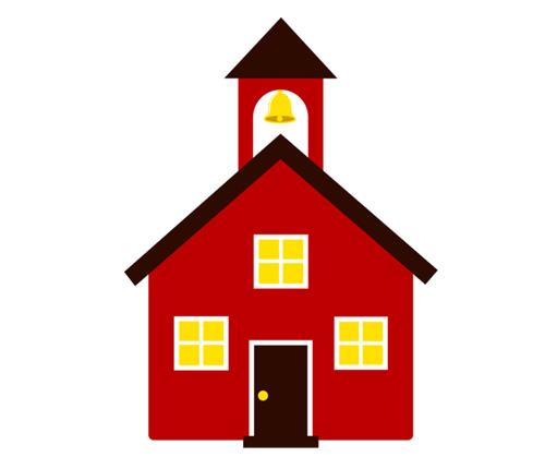 500x430 School House Schoolhouse Silhouette Clipart 2