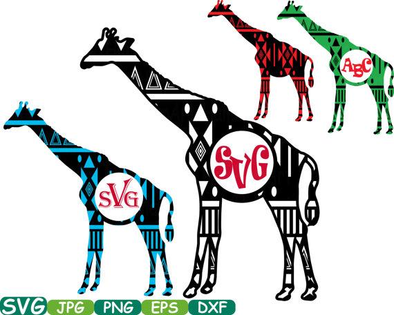 570x456 Aztec Giraffe Safari Monogram Circle Cutting Files Svg Silhouette