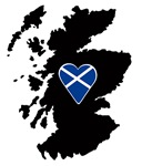 128x150 Heart Flag On Silhouette Of Scotland Souvenirs