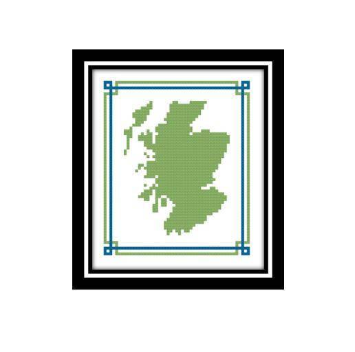 516x513 Scotland Map Cross Stitch Pattern Mini Scotland Map Scottish