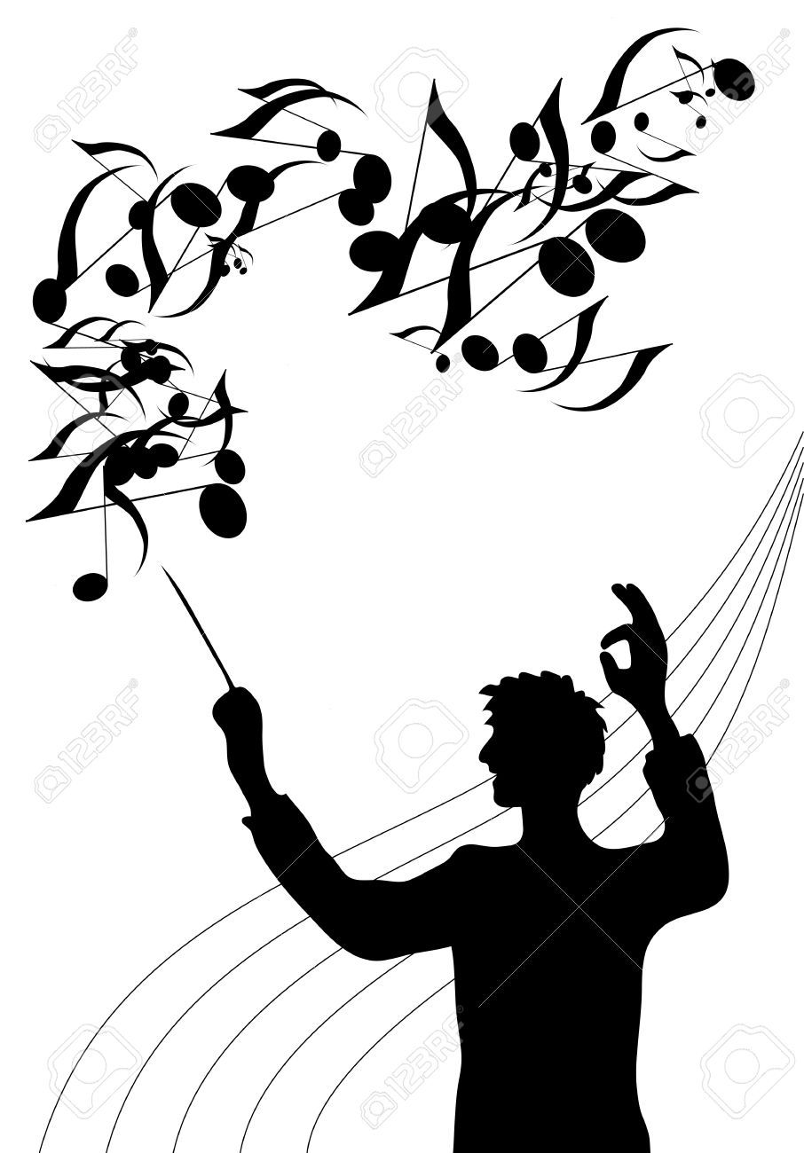 906x1300 A Silhouette Illustration Of The Director Of A Choir With Baton