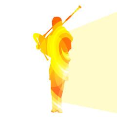 240x240 Bagpiper Scottish Man Silhouette Illustration Vector Background