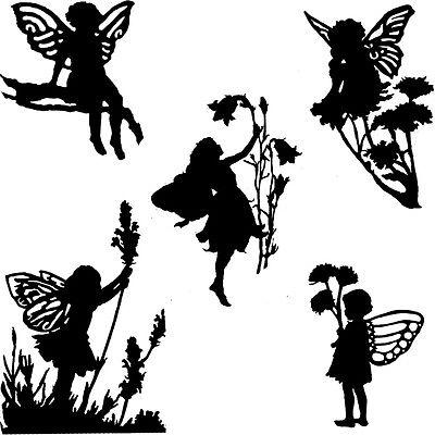 400x400 Die Cut Outs Silhouette Garden Flower Fairies 10 Set Fairy Jar