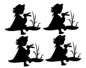 300x237 9 Easter Girl With Bunny Rabbit Silhouette Die Cut Embelishment