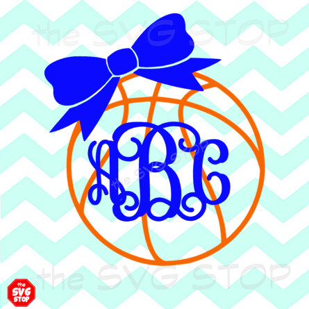 445x445 Monogram Basketball With Bow Svg And Studio Files For Cricut