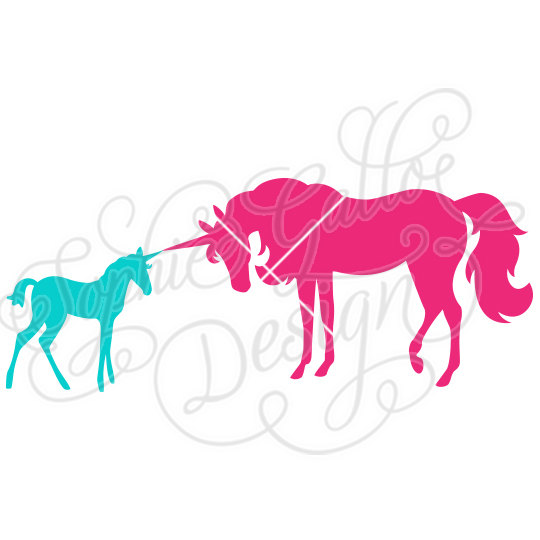 540x540 Unicorn Mom Amp Baby Svg File For Cricut, Silhouette, Vinyl Cutters