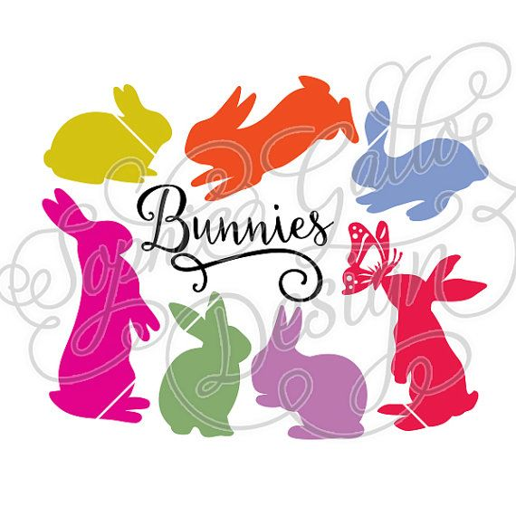 570x570 Bunnies Set Svg Amp Dxf File For Cricut, Silhouette, Vinyl Cutters