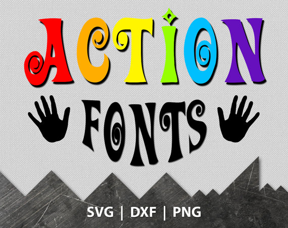 570x453 Cuttable Font Svg, Action Font Monogram, Vector Designs, Files