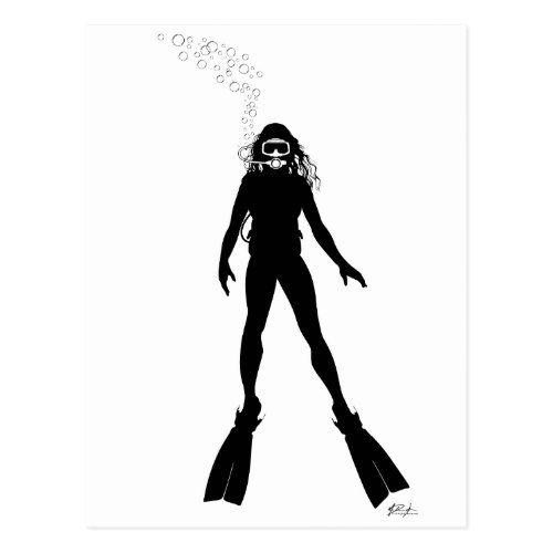 500x500 Scuba Diver Silhouette (Woman) Postcard Diver Scubas