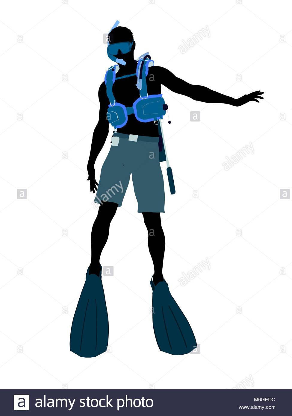 975x1390 Male Scuba Diver Art Illustration Silhouette On A White Background