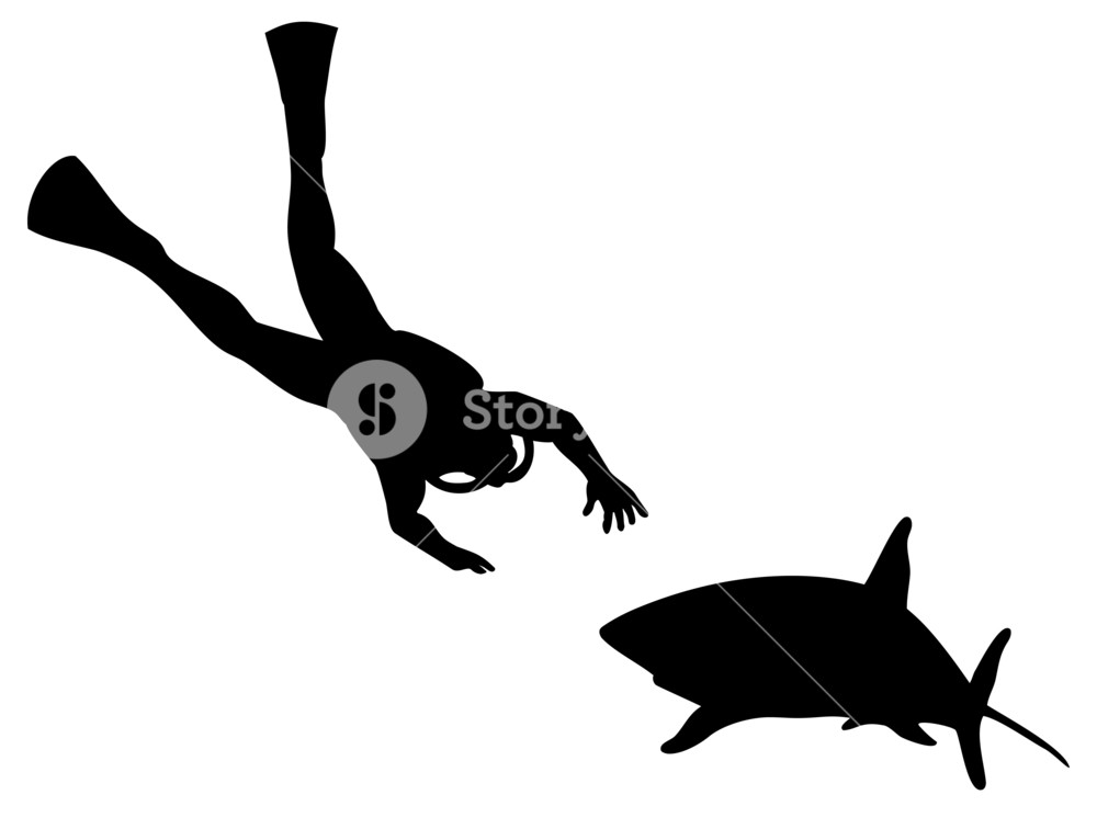 1000x756 Scuba Diver And Shark Silhouette Royalty Free Stock Image