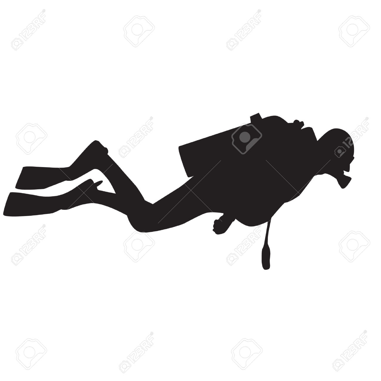 1300x1300 Scuba Diver Silhouette Clipart