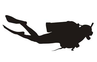 320x206 Scuba Diver Silhouette 2 Decal Sticker