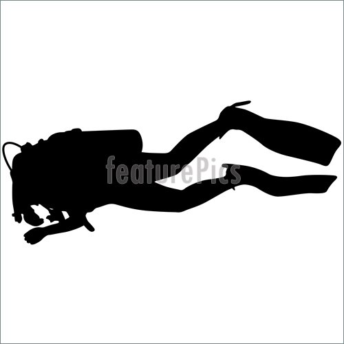 500x500 Underwater Diving Black Silhouette Scuba Divers.