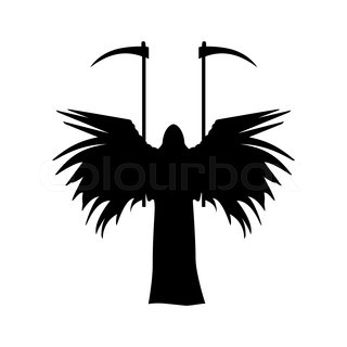320x320 Winged Death With A Scythe Silhouette Isolated On White Background