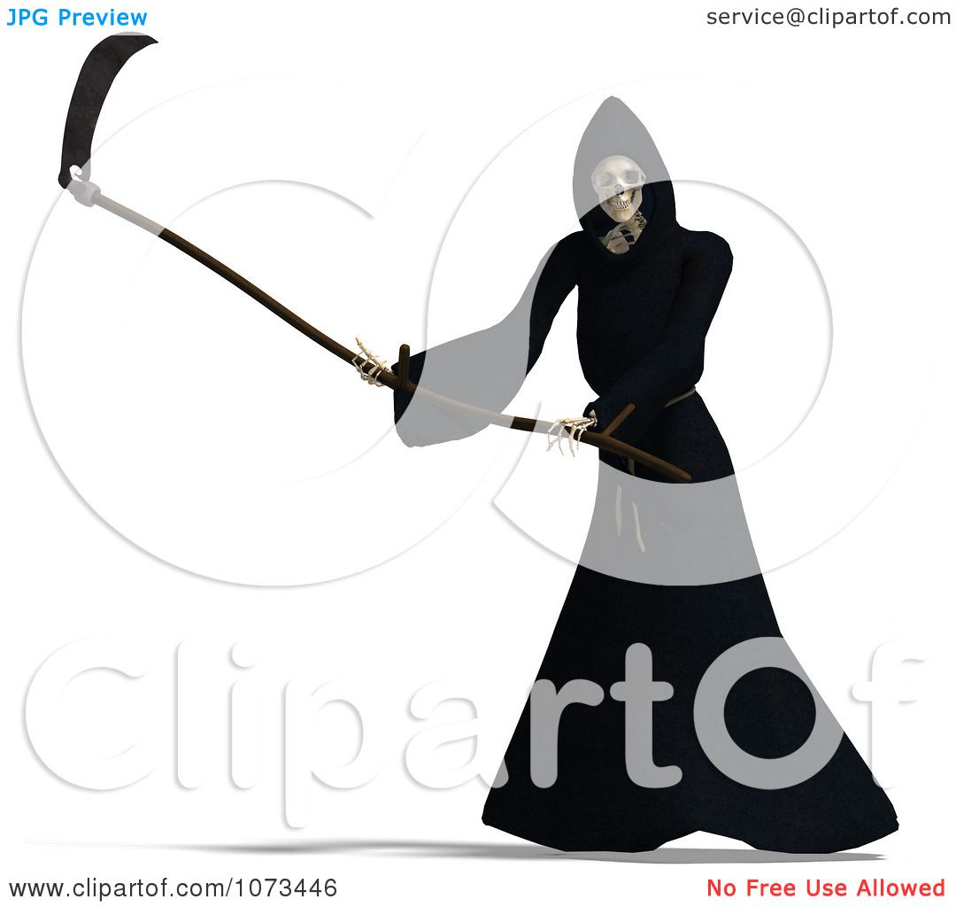 1080x1024 Clipart 3d Grim Reaper Of Death Swinging A Scythe 4