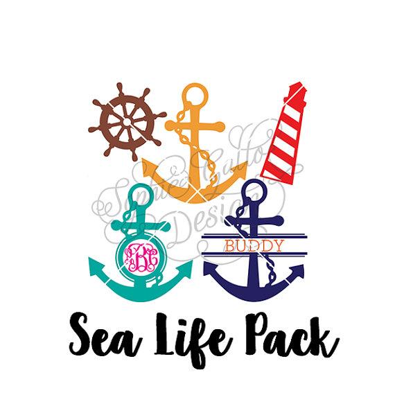 570x570 Sea Life Monogram Design Svg Dxf Digital Download Files