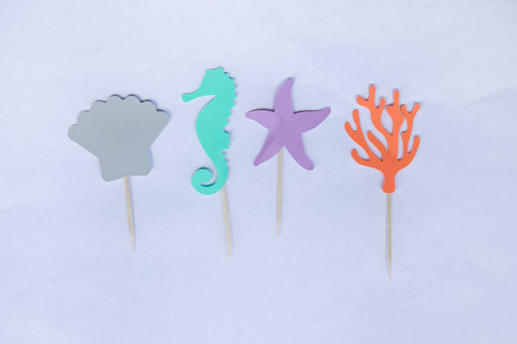 570x380 Beach Sea Life Silhouette Cupcake Toppers Party Picks Baby Shower