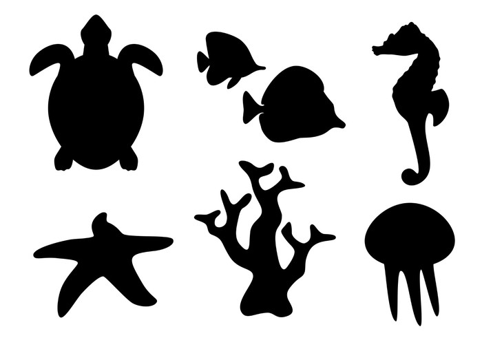 700x494 Sea Life Silhouettes Wall Mural We Live To Change