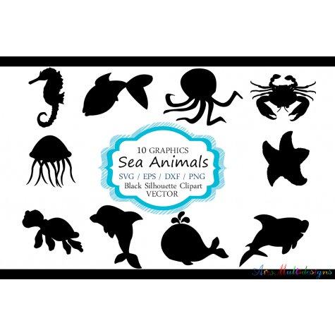 475x475 Sea Animals Silhouette Vector Sea Animal Sea Animal Svg File