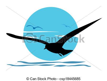 450x341 Silhouette Of Seagull On Sea Sunrise, Vector Vector