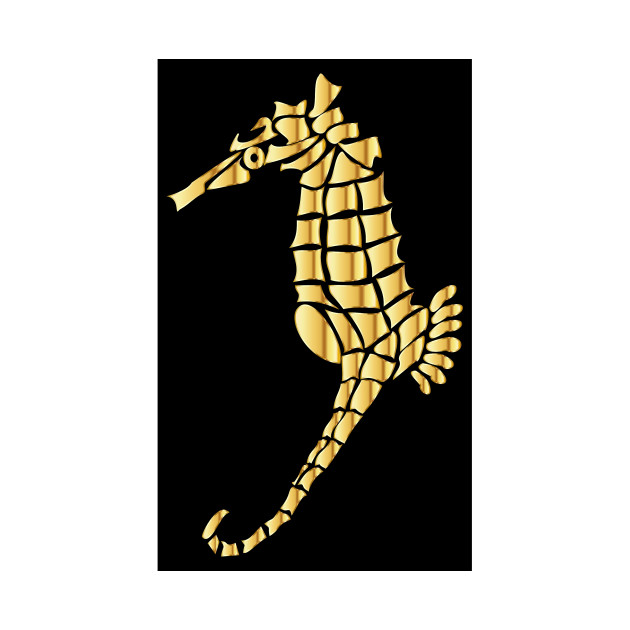 630x630 Limited Edition. Exclusive Gold Stylized Seahorse Silhouette