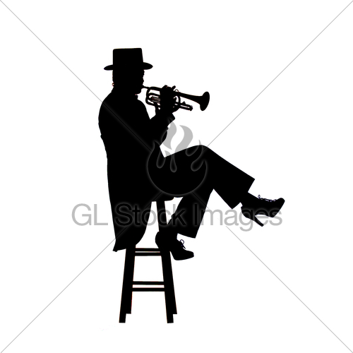 500x500 Silhouette Image Of A Woman Trumpet Player Gl Stock Images
