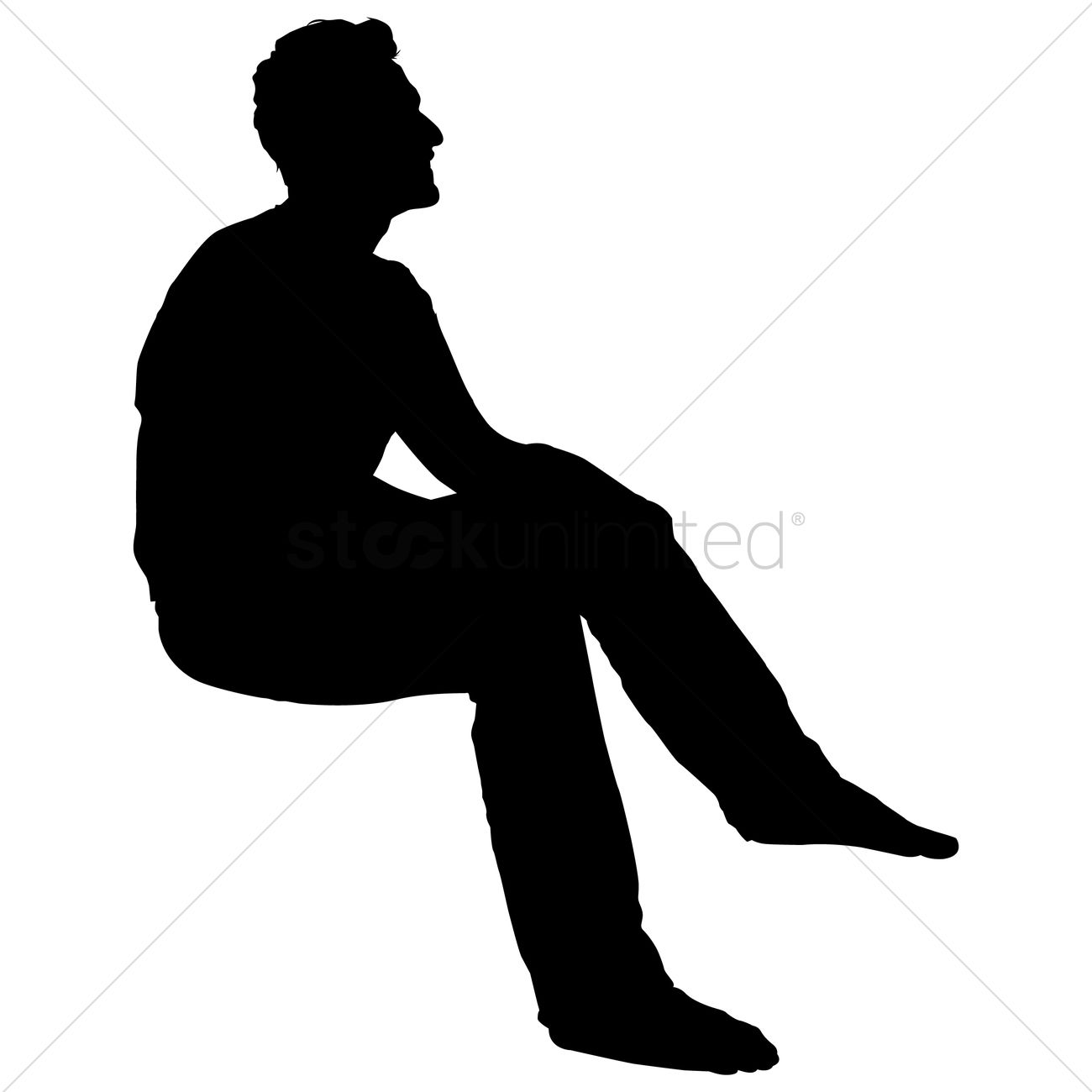 1300x1300 Silhouette Of A Man Sitting Vector Image