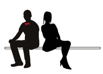 333x240 Vector, Isolated Set Silhouettes Seated People Collection