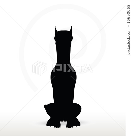 433x450 Dog Silhouette In Sitting Pose