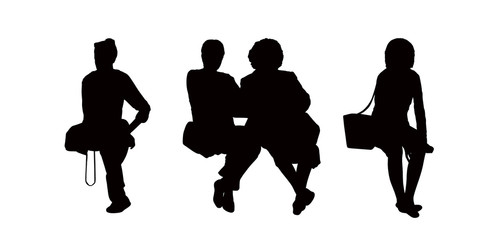 504x240 People Seated Outdoor Silhouettes Set 8