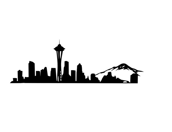 570x440 Seattle Skyline Outline Seattle Skyline Decal Seattle Decal Space