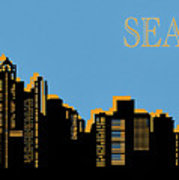 179x180 Seattle Skyline Silhouette Pop Art Hand Towel For Sale By Dan Sproul