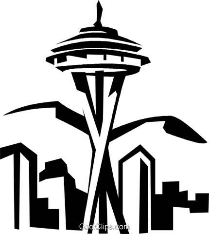 430x480 Homely Ideas Space Needle Clipart Seattle Silhouette Etsy
