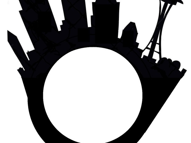 628x472 Seattle City Skyline Ring With Space Needle By Lizhavlin